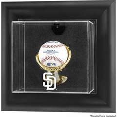 San Diego Padres Black Framed Wall Mounted Logo Baseball Display Case