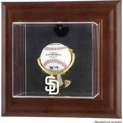 San Diego Padres Brown Framed Wall Mounted Logo Baseball Display Case