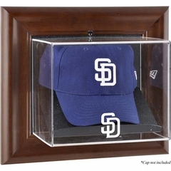 San Diego Padres Brown Framed Wall Mounted Logo Cap Case