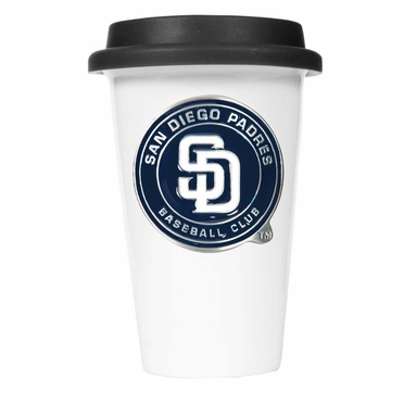 San Diego Padres Ceramic Travel Cup (Black Lid)