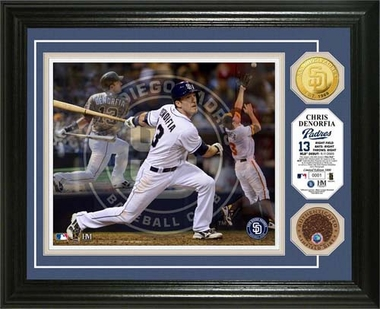 "San Diego Padres Chris Denorfia ""Triple Play"" Game Used Dirt Coin Photo Mint"