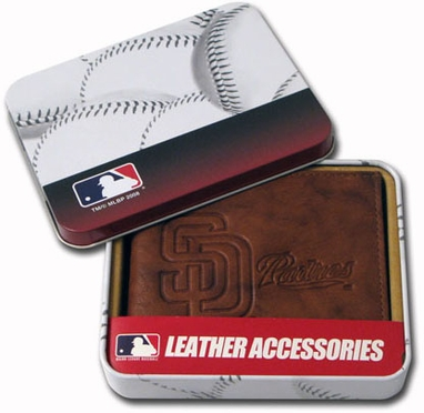 San Diego Padres Embossed Leather Bifold Wallet