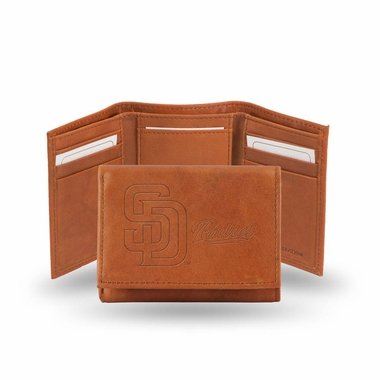 San Diego Padres Embossed Leather Trifold Wallet