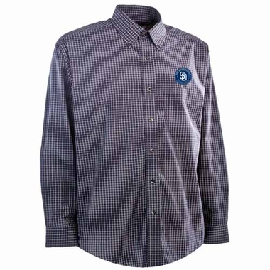 San Diego Padres Mens Esteem Button Down Dress Shirt (Team Color: Navy)