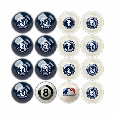 San Diego Padres Home and Away Complete Billiard Ball Set