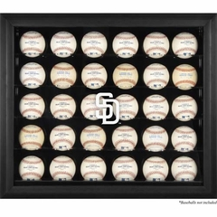San Diego Padres Logo Black Framed 30-Ball Display Case