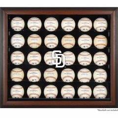 San Diego Padres Logo Mahogany Framed 30-Ball Display Case