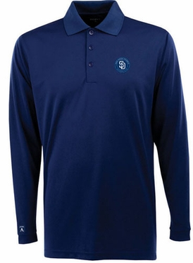 San Diego Padres Mens Long Sleeve Polo Shirt (Team Color: Navy)