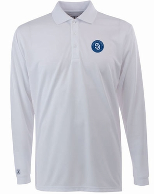 San Diego Padres Mens Long Sleeve Polo Shirt (Color: White)