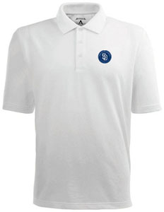 San Diego Padres Mens Pique Xtra Lite Polo Shirt (Color: White) - Large