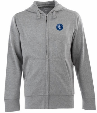 San Diego Padres Mens Signature Full Zip Hooded Sweatshirt (Color: Gray)