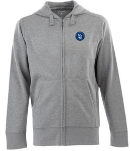 San Diego Padres Mens Signature Full Zip Hooded Sweatshirt (Color: Gray) - Small