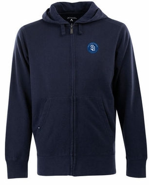 San Diego Padres Mens Signature Full Zip Hooded Sweatshirt (Color: Navy)