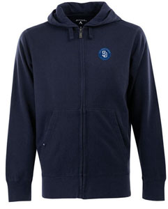 San Diego Padres Mens Signature Full Zip Hooded Sweatshirt (Color: Navy) - Small
