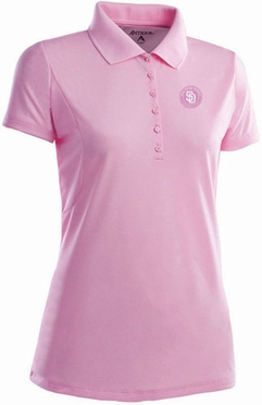 San Diego Padres Womens Pique Xtra Lite Polo Shirt (Color: Pink)