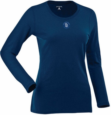 San Diego Padres Womens Relax Long Sleeve Tee (Team Color: Navy)