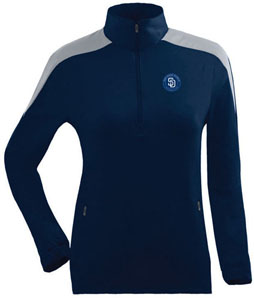 San Diego Padres Womens Succeed 1/4 Zip Performance Pullover (Team Color: Navy) - Medium