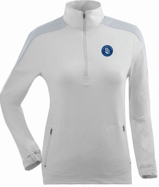 San Diego Padres Womens Succeed 1/4 Zip Performance Pullover (Color: White)