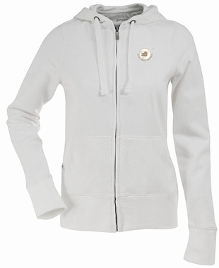 San Diego Padres Womens Zip Front Hoody Sweatshirt (Cooperstown) (Team Color: White)