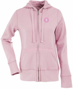 San Diego Padres Womens Zip Front Hoody Sweatshirt (Color: Pink) - Small