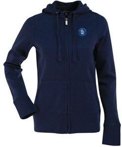 San Diego Padres Womens Zip Front Hoody Sweatshirt (Team Color: Navy) - Small