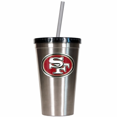 San Francisco 49ers 16oz Stainless Steel Insulated Tumbler with Straw