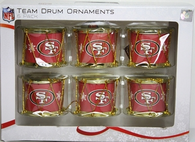 San Francisco 49ers 2012 Plastic Drum 6 Pack Ornament Set