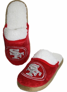 San Francisco 49ers 2012 Womens Team Color Sherpa Glitter Slippers
