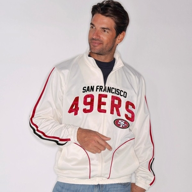 San Francisco 49ers All American Full Zip Vintage White Track Jacket