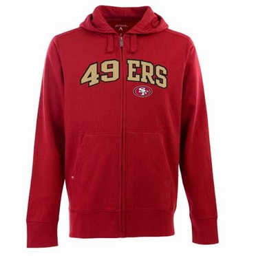 San Francisco 49ers Mens Applique Full Zip Hooded Sweatshirt (Team Color: Red)