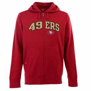San Francisco 49ers Mens Applique Full Zip Hooded Sweatshirt (Team Color: Red) - X-Large