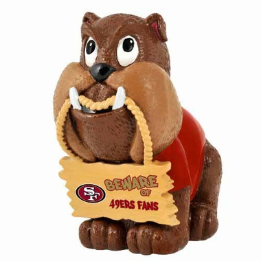 San Francisco 49ers Bulldog Holding Sign Figurine