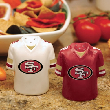 San Francisco 49ers Ceramic Jersey Salt and Pepper Shakers