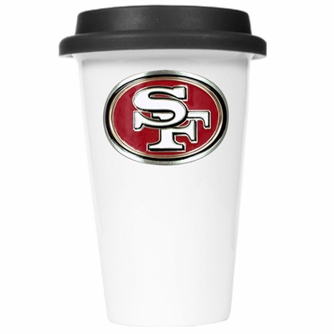San Francisco 49ers Ceramic Travel Cup (Black Lid)