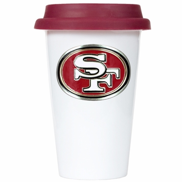 San Francisco 49ers Ceramic Travel Cup (Team Color Lid)