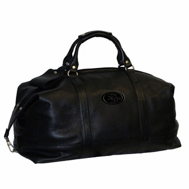 San Francisco 49ers Debossed Black Leather Captain's Carryon Bag