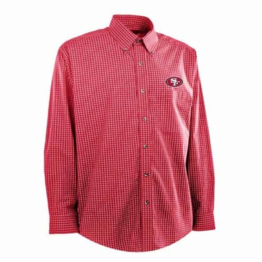 San Francisco 49ers Mens Esteem Check Pattern Button Down Dress Shirt (Team Color: Red)