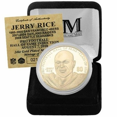 San Francisco 49ers Jerry Rice 2010 HOF Induction 24KT Gold Coin