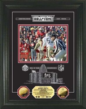 San Francisco 49ers Jerry Rice 24KT ZGold Coin HOF Induction Etched Glass Photo Mint
