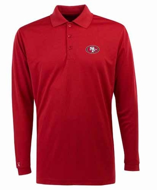 San Francisco 49ers Mens Long Sleeve Polo Shirt (Team Color: Red)