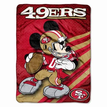 San Francisco 49ers Mickey Mouse Microfiber Throw