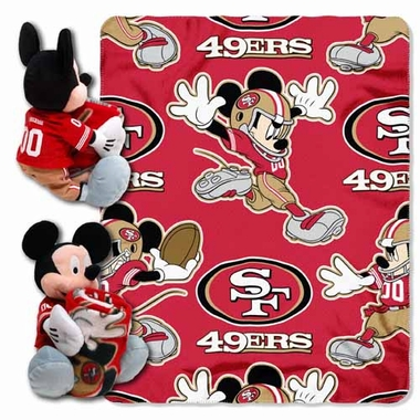 San Francisco 49ers Mickey Mouse Pillow / Throw Combo