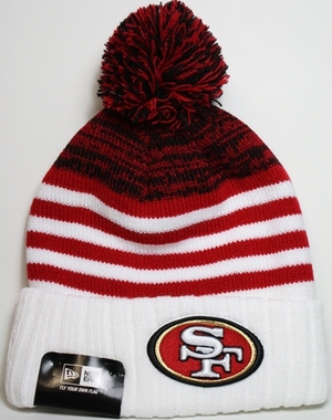 San Francisco 49ers New Era NFL Snowfall Stripe Cuffed Knit Hat