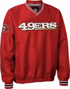 San Francisco 49ers NFL Pre-Season Wordmark Pullover Red Jacket - X-Large