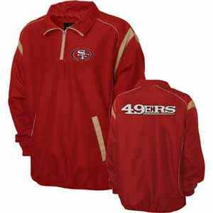 San Francisco 49ers NFL Red Zone 1/4 Zip Red Jacket - Medium