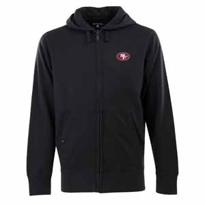 San Francisco 49ers Mens Signature Full Zip Hooded Sweatshirt (Alternate Color: Black) - Medium