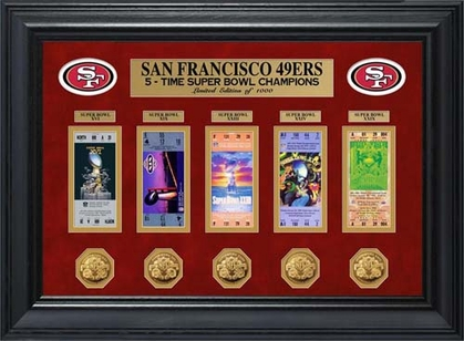 San Francisco 49ers San Francisco 49ers Super Bowl Ticket and Game Coin Collection Framed
