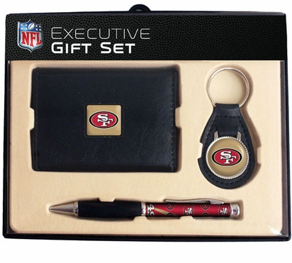 San Francisco 49ers Trifold Wallet Key Fob and Pen Gift Set