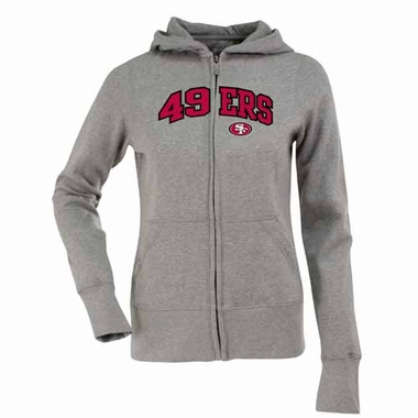 San Francisco 49ers Applique Womens Zip Front Hoody Sweatshirt (Color: Gray)