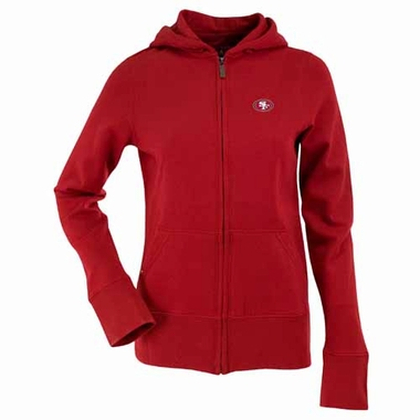 San Francisco 49ers Womens Zip Front Hoody Sweatshirt (Team Color: Red)